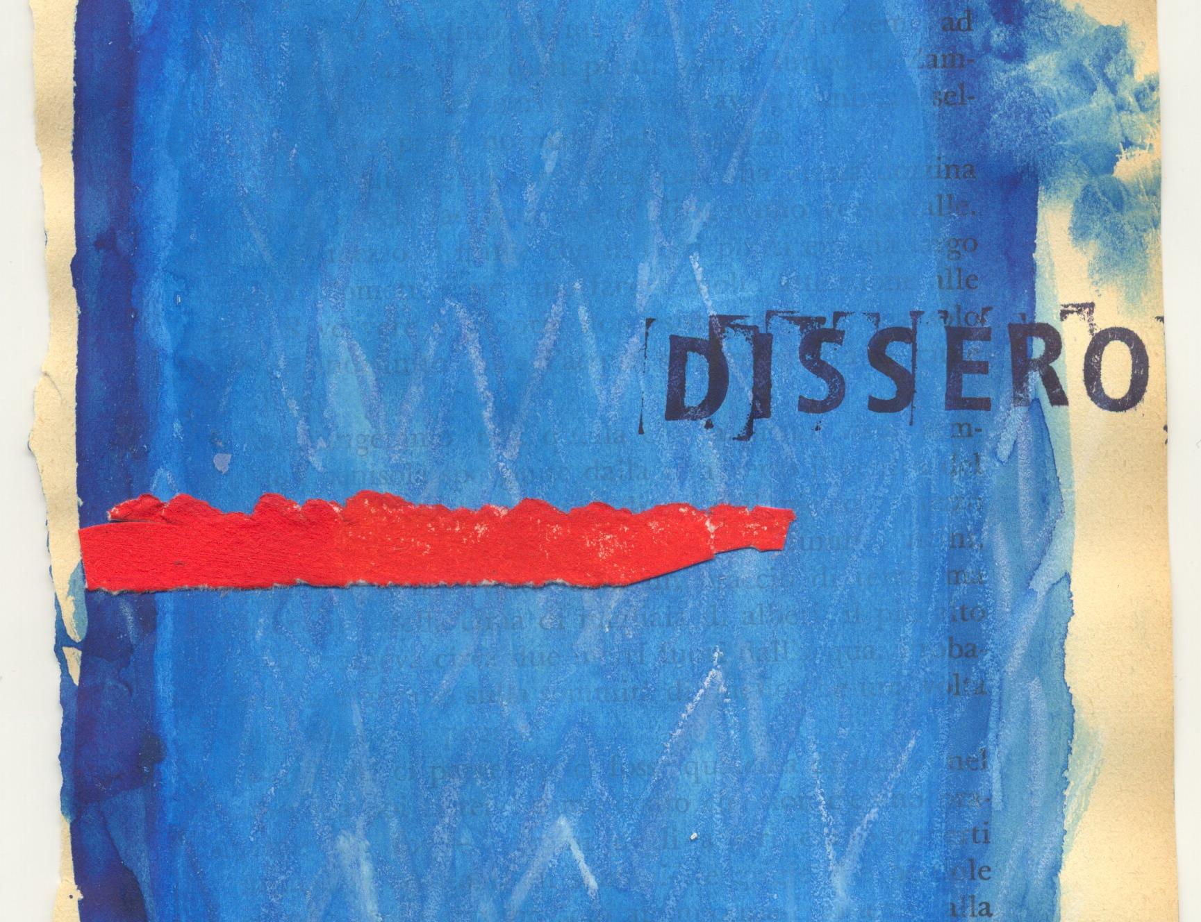 """""""Dissero""""  – acquerello, acrilico, cera e inchiostro per timbri su pagina di libro di Alfonso Lentini – 2019"""
