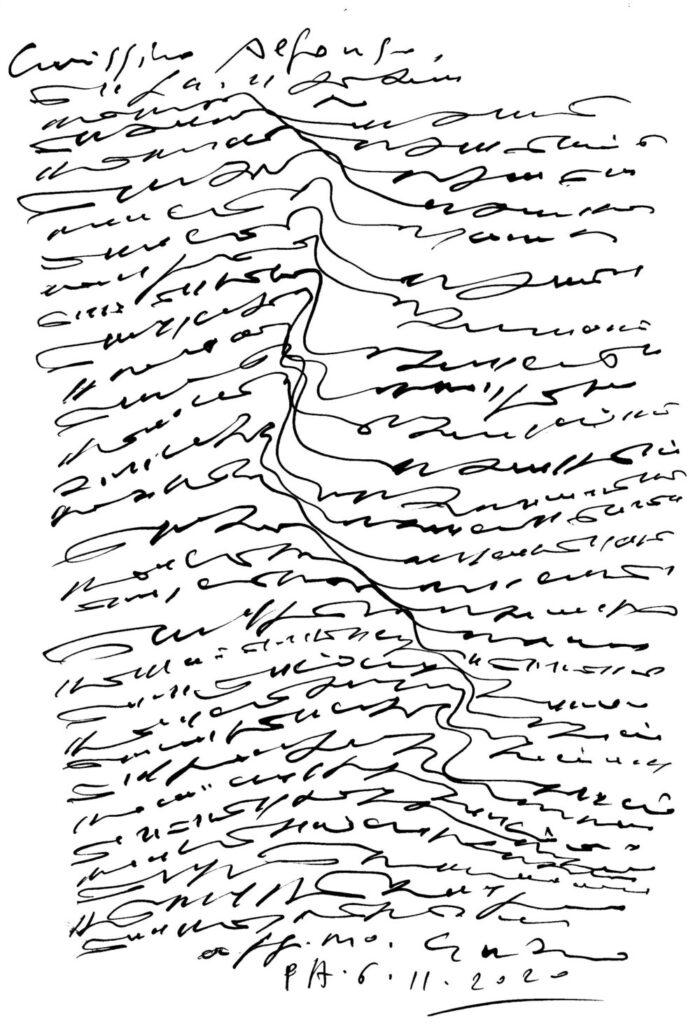 Enzo Patti – Lettera asemica ad Alfonso Lentini – 2020