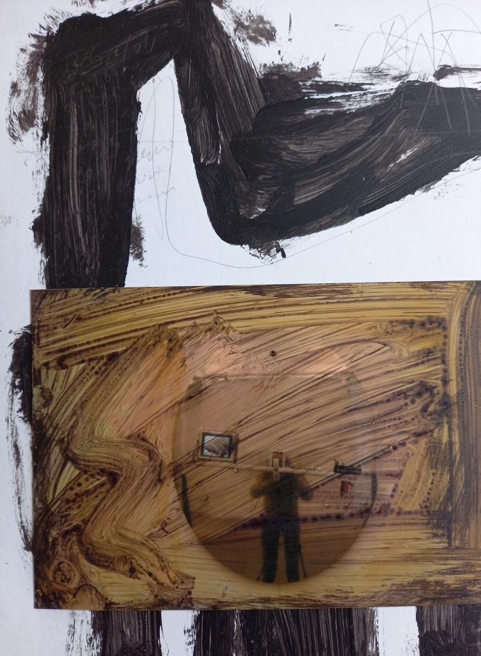 """Aurelio Fort, """"Troppa realtà"""" – tecnica mista, 2021 (opera realizzata in esclusiva per Il Cucchiaio nell'Orecchio)."""